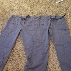 2 pairs of Dickies Petite scrub bottoms. Pewter